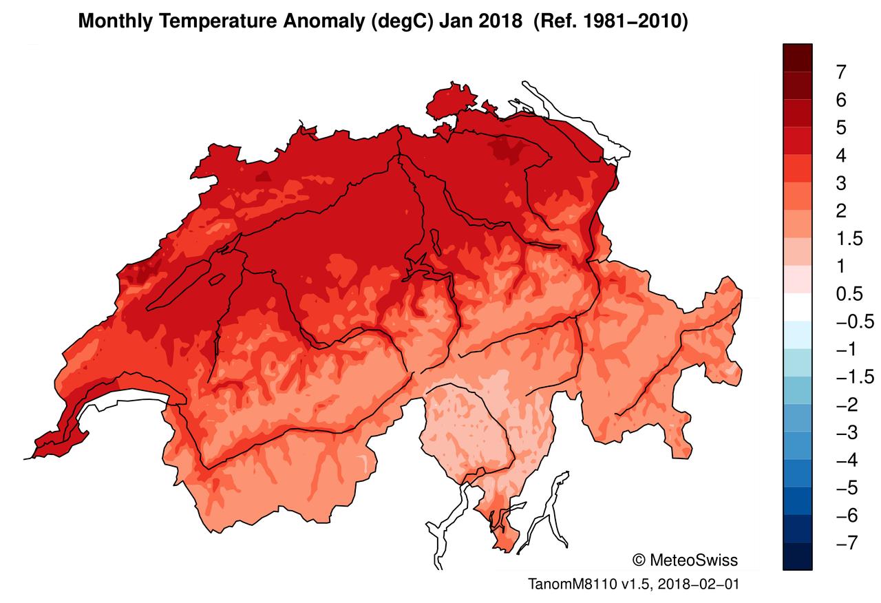 Abweichung der Monatsmitteltemperatur im Januar 2018 gegenüber der Normperiode 1981 - 2010